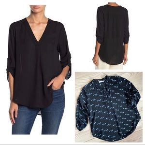 LUSH NORDSTROM SPLIT NECK ROLLED SLEEVE BLOUSE